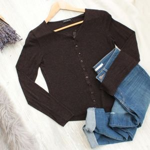 Sweaters - The Limited Chocolate Brown Button Cardigan Med